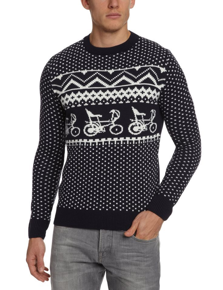 Retro 70's bike unisex Christmas jumper. Mens christmas
