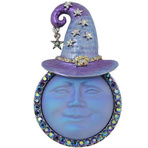 Seaview Moon Witch Pin Pendant (Silvertone/Purple)