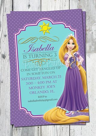 Rapunzel Tangled Invitation Printable for Tangled Themed Birthday