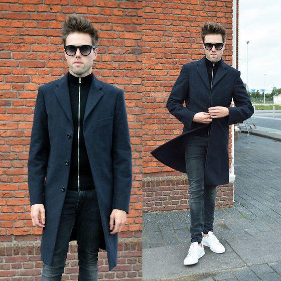 Acne Studios Garret Moleskin Coat, Cos Zip Cardigan, H&M Jeans, Adidas Stan Smith Sneakers