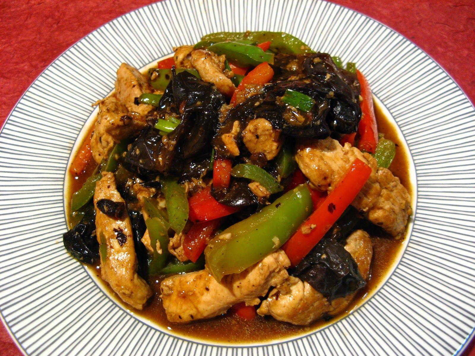 Black Bean Sauce Cloud Ear Chicken (蒜蓉豆豉雲耳雞, Syun3 Jung4 Dau6 Si6 Wan4 Ji5 Gai1)