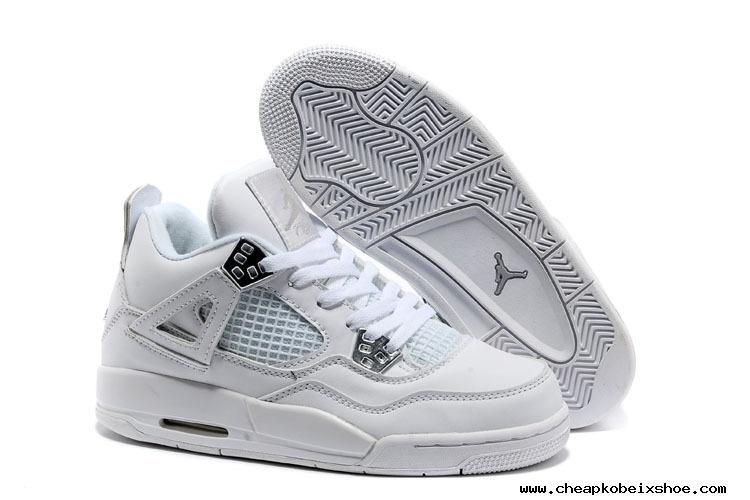 15bd0bc6ab63 For Wholesale All White Jordan Basketball Shoes Women    s Nike Air Jordan  4 Retro