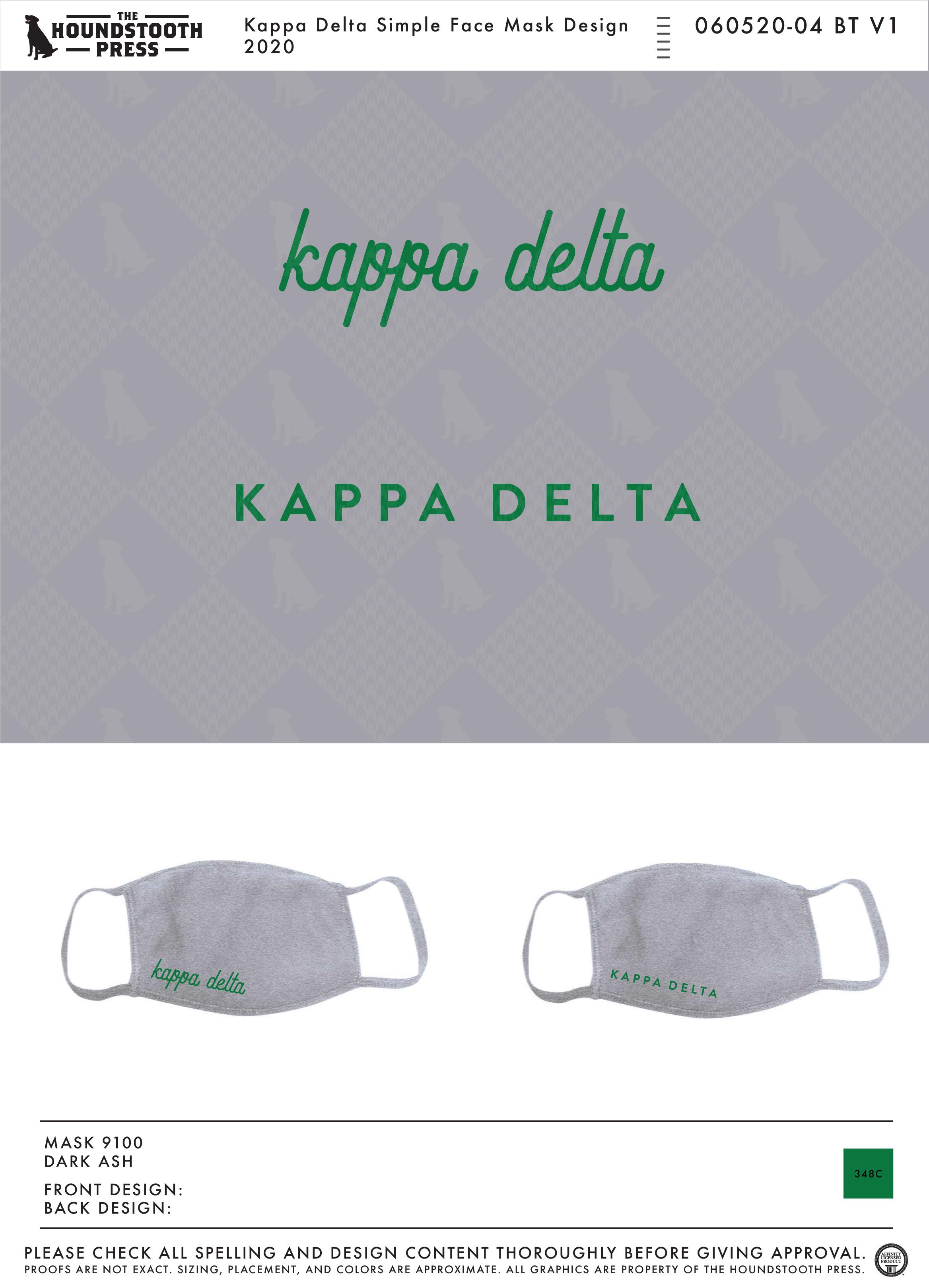 Custom Sorority Apparel More The Houndstooth Press Kappa Delta Face Mask Custom Design Shirts Sorority Outfits Sorority Shirts