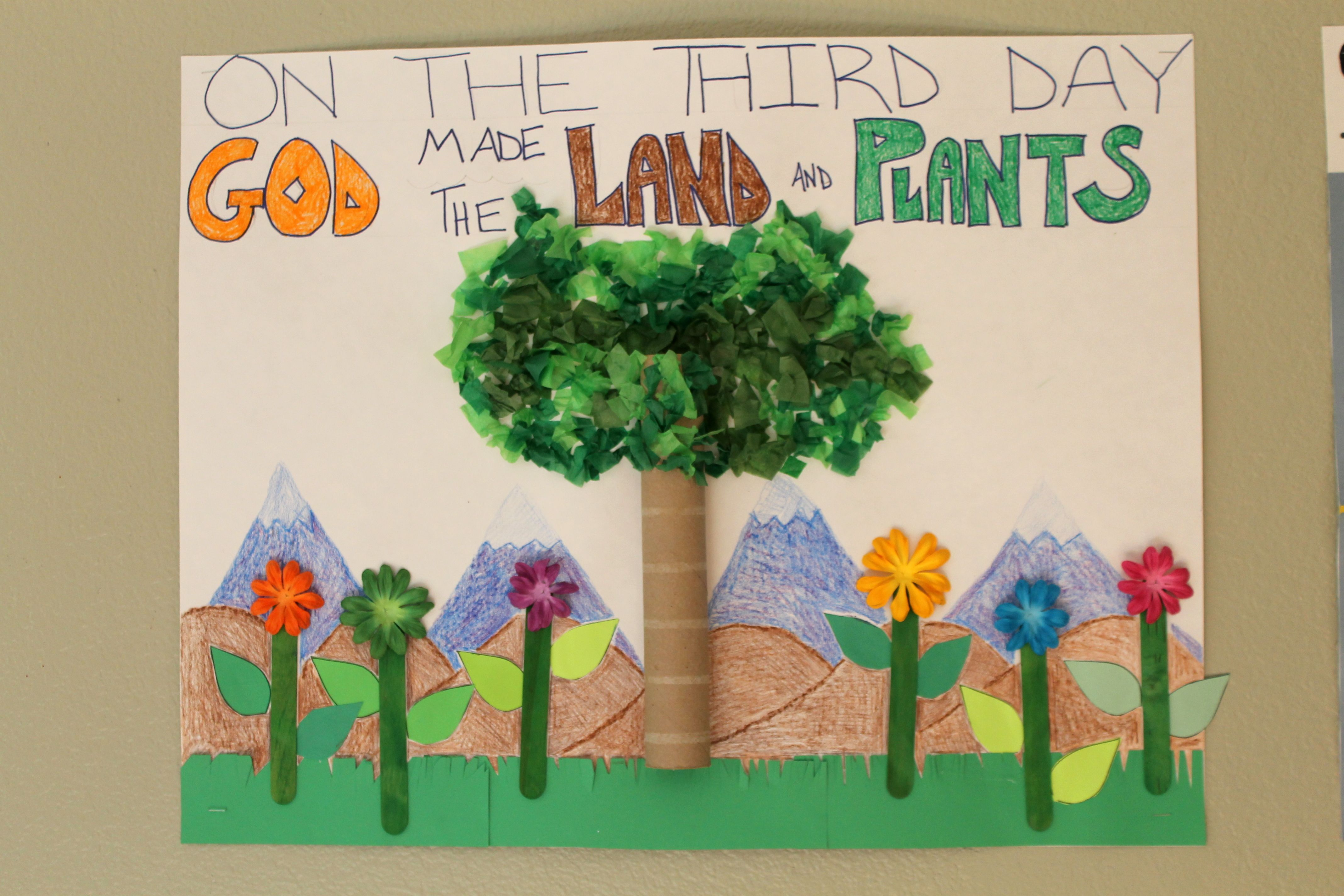 Creation Day 3 Classroom Poster God Made The Land And