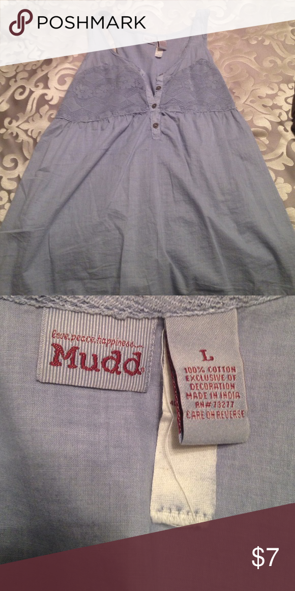 Cute tank top Cute blue tank top with lace accent on the chest! Adorable and only been worn a few times☺️ Mudd Tops Tank Tops
