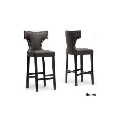 Set Of 2 Modern Contemporary Brown Faux Leather Kitchen Counter Bar Stools Chair