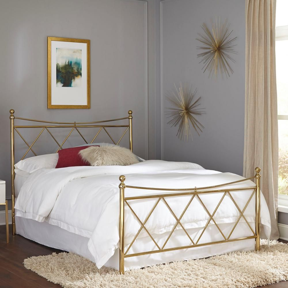 Fashion Bed Group Lennox Classic Brass Queen Bed Frame With Metal