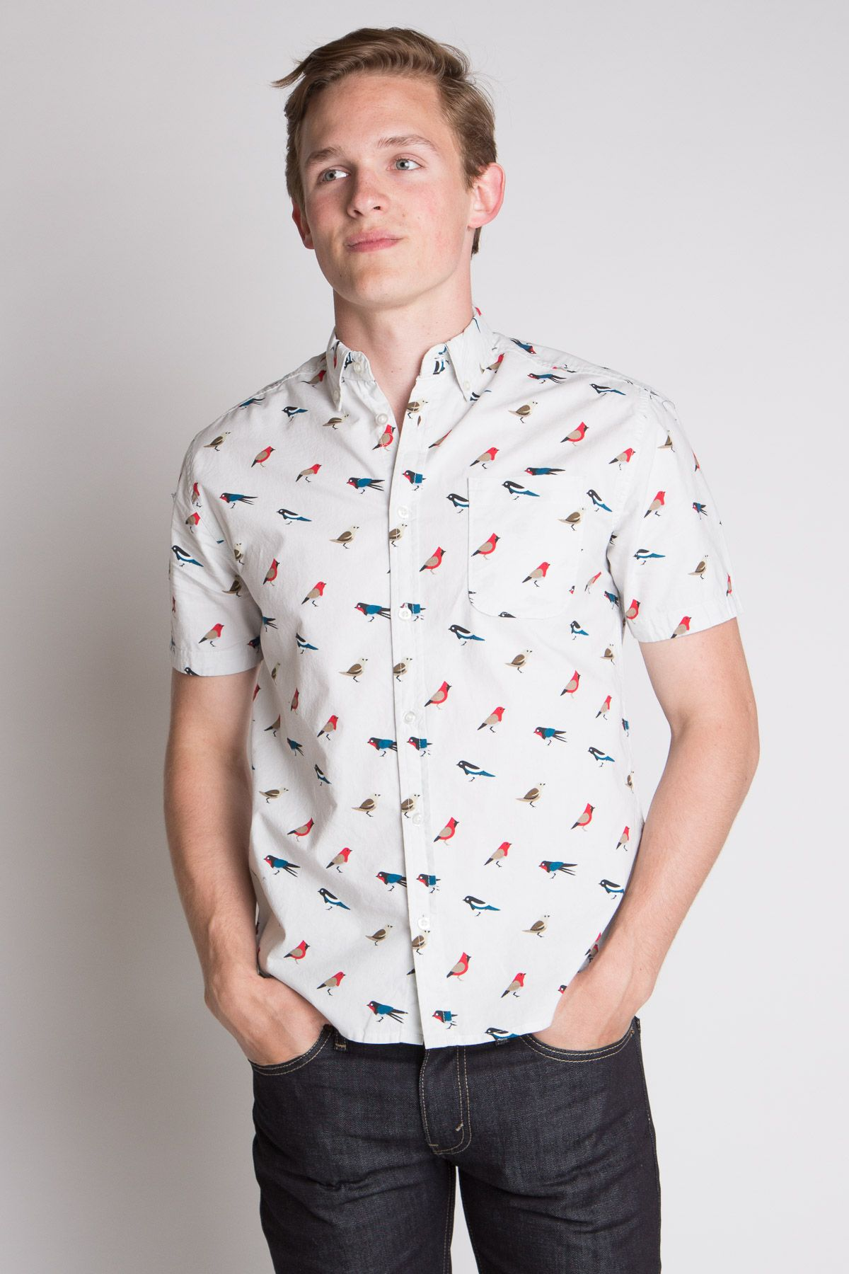 3dd7dbe8b9 Multi Colored Birds Icon-Printed Woven Shirt - Ragstock Mens Button Up, Button  Up