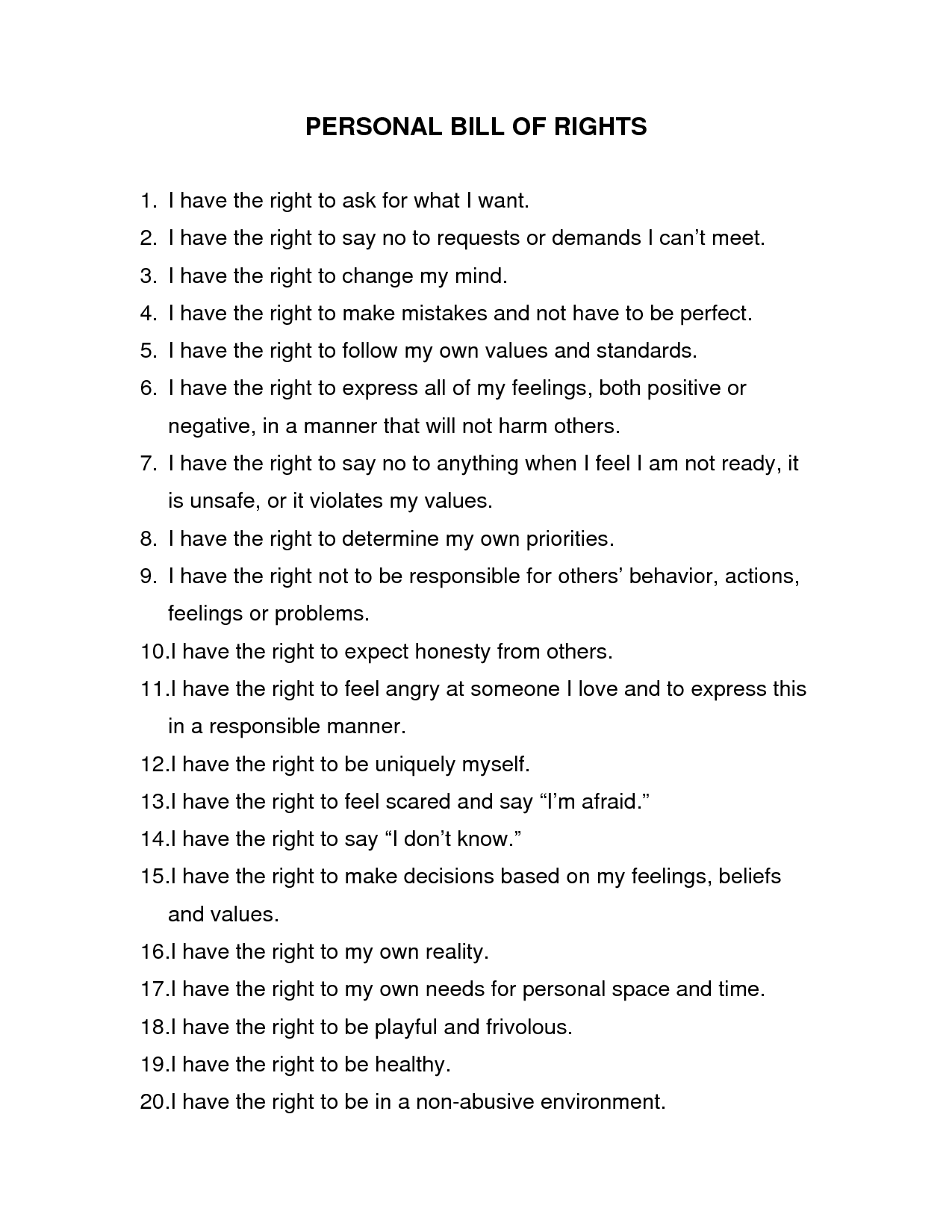 Personal Bill Of Rights