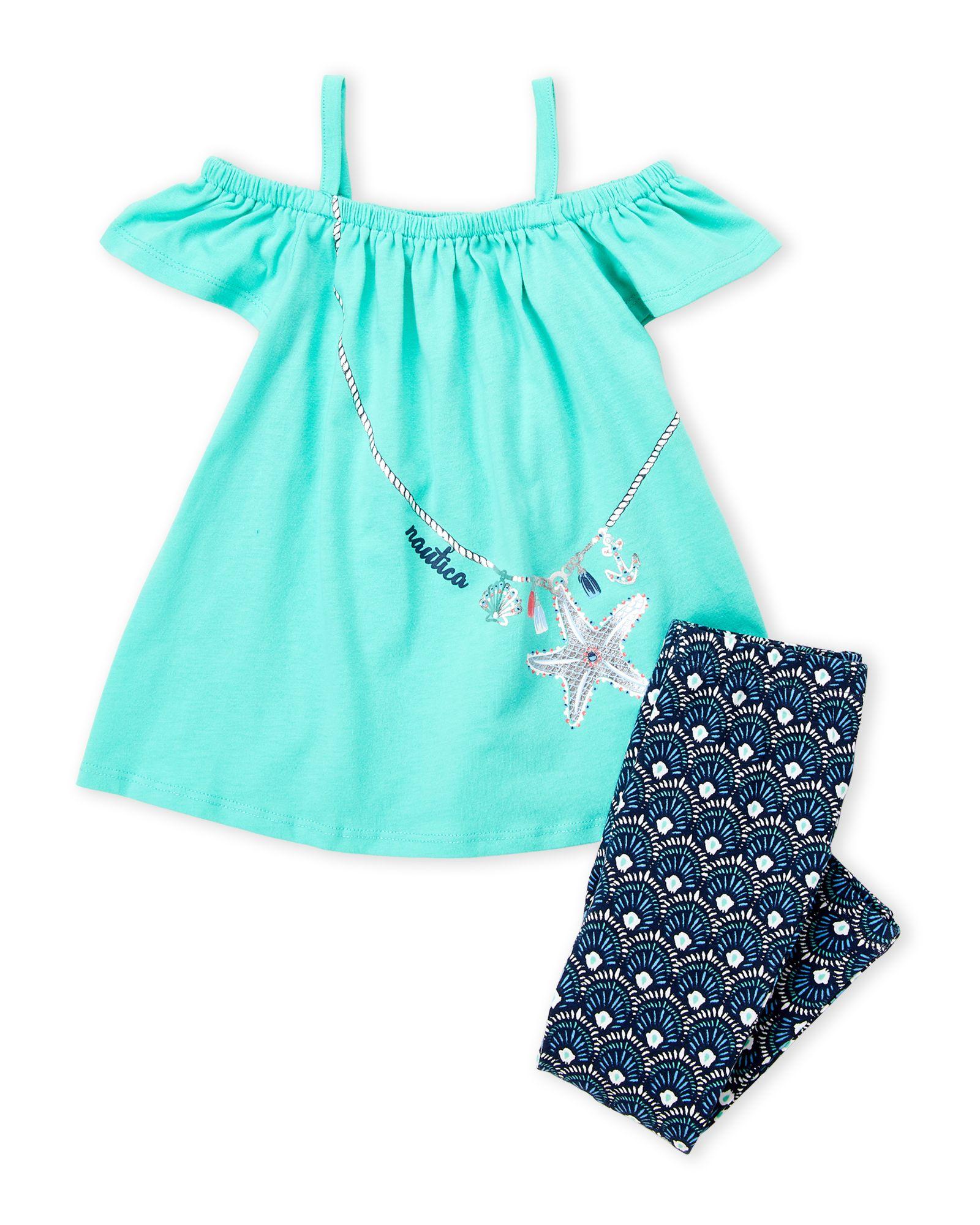 0342bcca2ed13 Nautica (Toddler Girls) Two-Piece Cold Shoulder Top & Printed Leggings Set