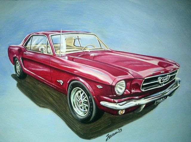 1965 Ford Mustang Hardtop. An original oil painting