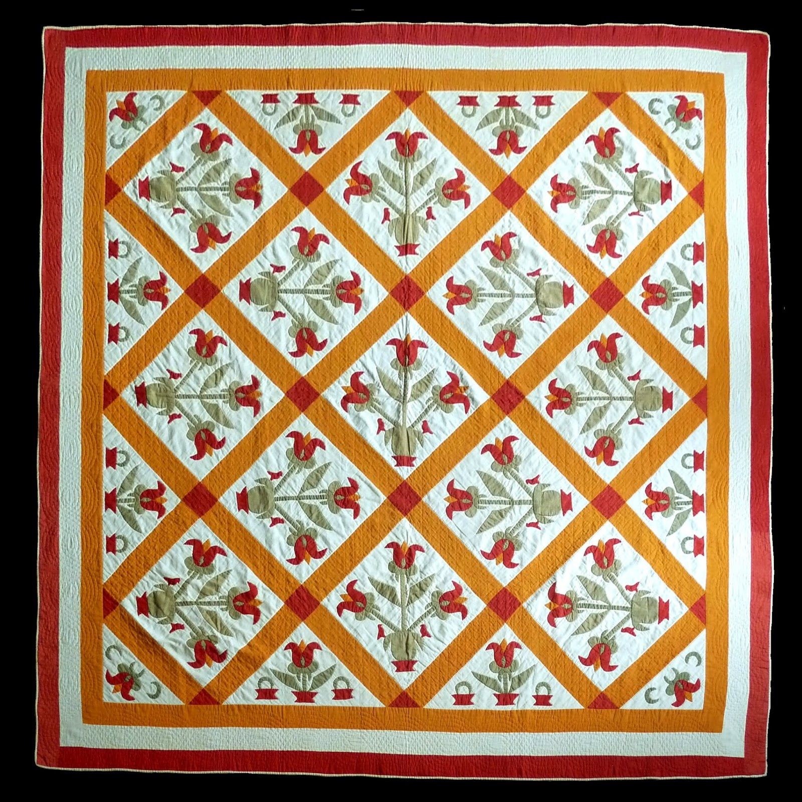 Antique red green and cheddar tulip vase quilt from the quilt antique red green and cheddar tulip vase quilt from the quilt complex photo by reviewsmspy
