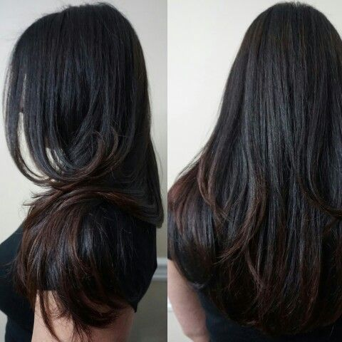 Balayage On Dark Previously Colored Hair The Beginning Of