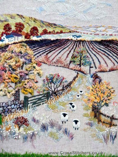 ♒ Enchanting Embroidery ♒ Hilltop Farm Embroidery Kit - Rowandean Embroidery