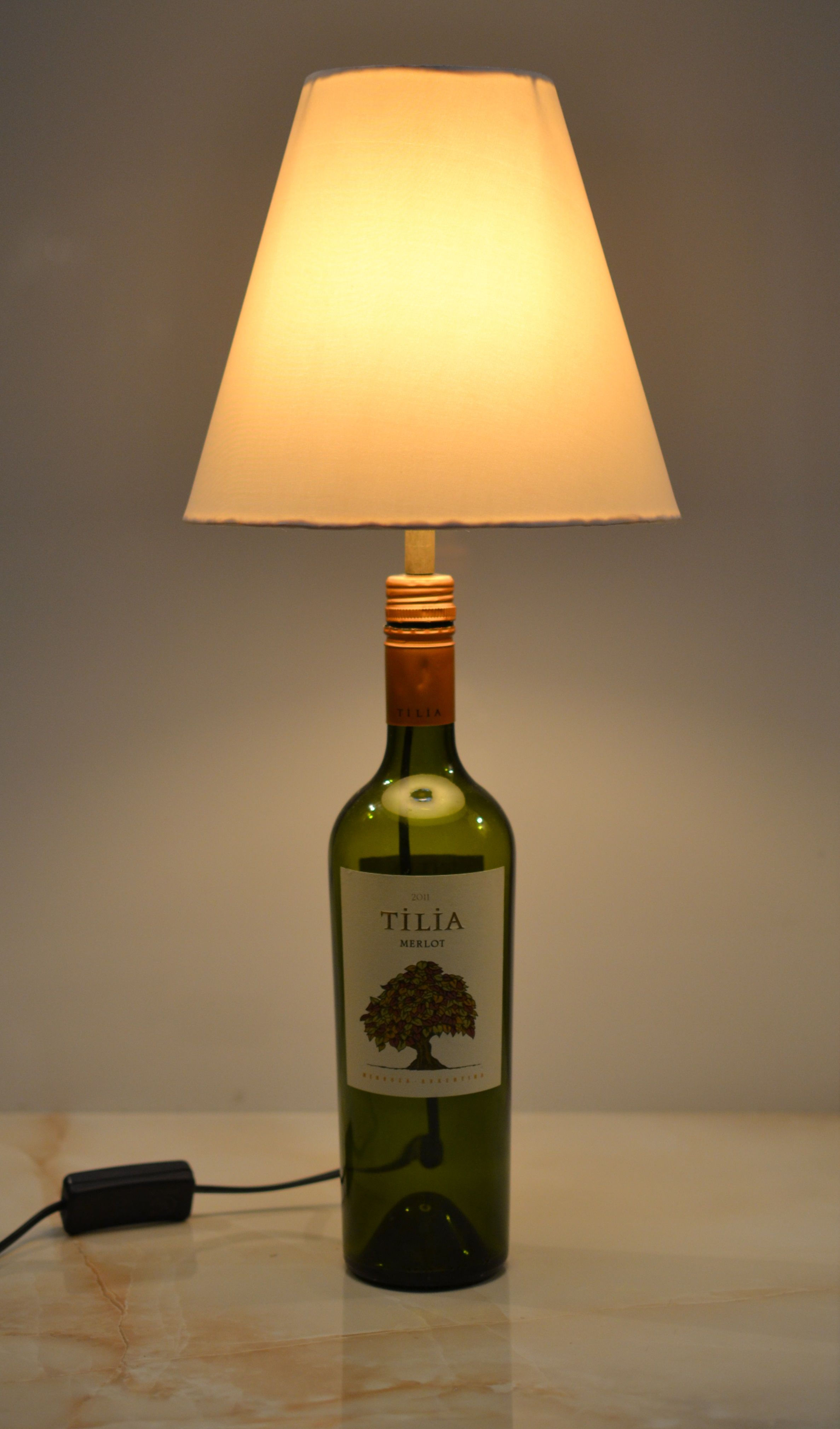 Glass Bottle Lamps Tilia Wine Bottle Lamp With A Color Coordinated Round Shade