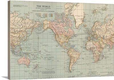 World maps great big canvas wall decor pinterest wall decor encyclopaedia britannica premium thick wrap canvas wall art print entitled the world vintage map none gumiabroncs Choice Image