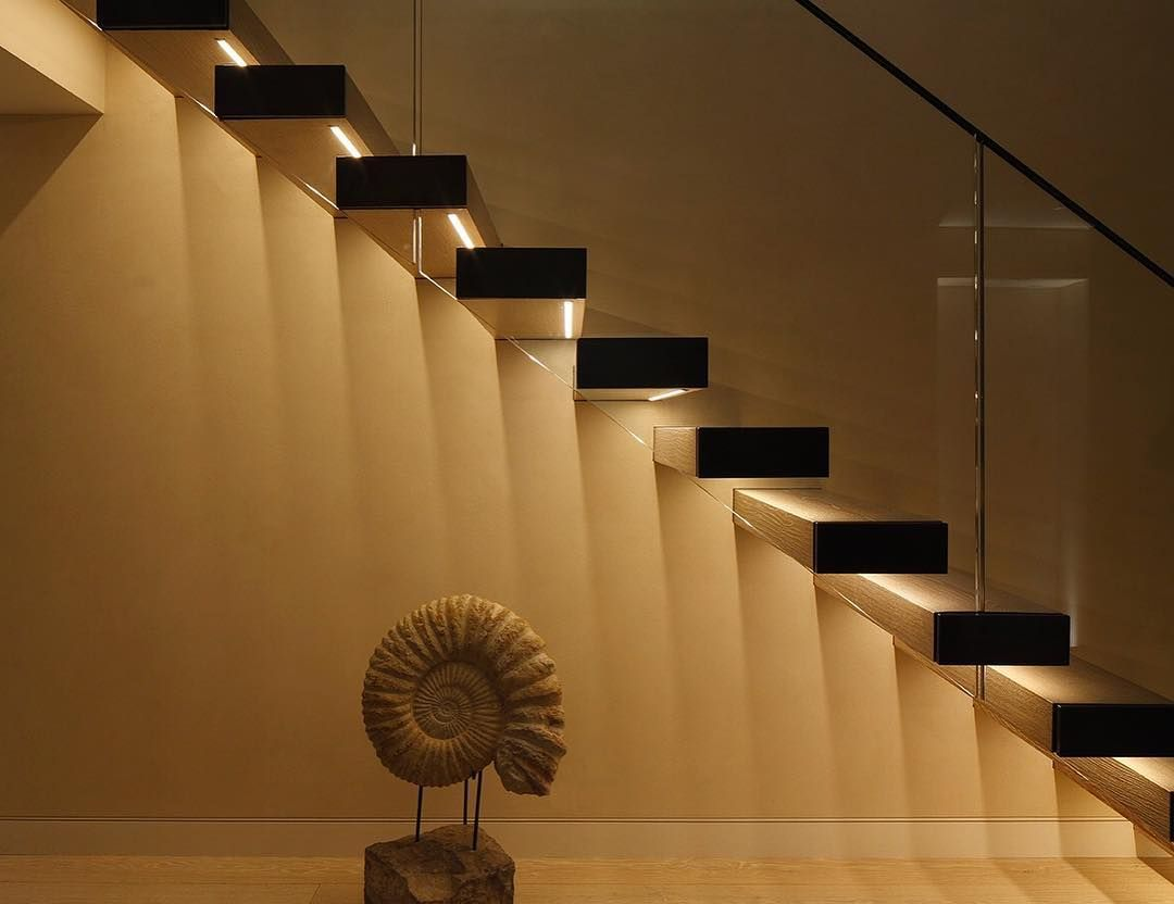 Lighting Basement Washroom Stairs: 'For Open Riser Staircases, The Light Source Can Be Hidden