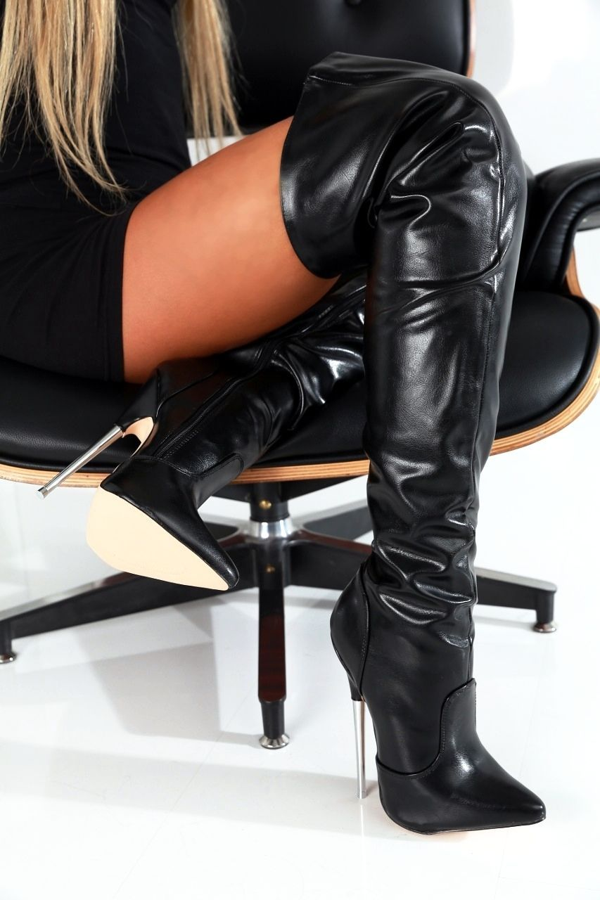 giaro slick stiletto stiefel overknee boots high heels. Black Bedroom Furniture Sets. Home Design Ideas