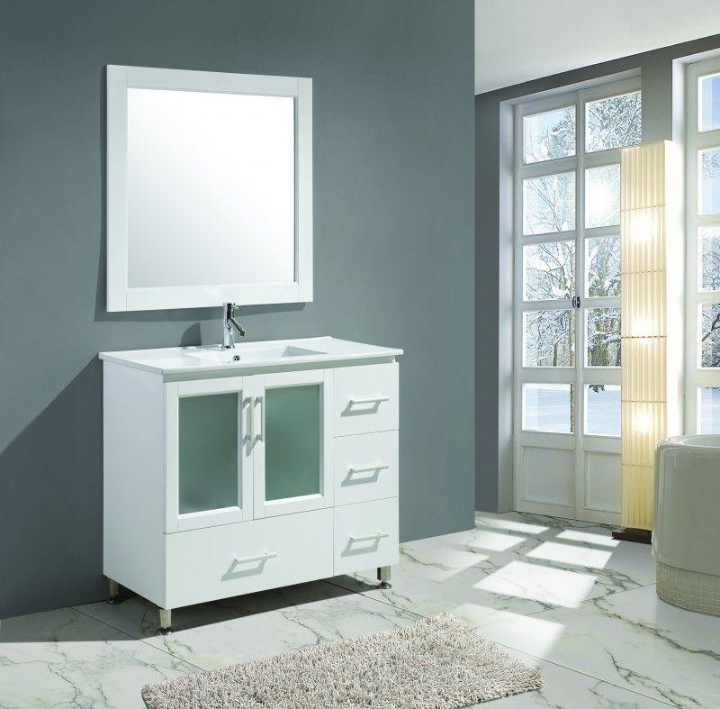"Stanton 40"" Single Sink Vanity Set In White Finish  40 Inch White Prepossessing 40 Inch Bathroom Vanity Inspiration"