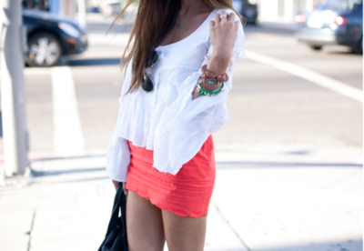 love the colored skirt with flowy white top combo