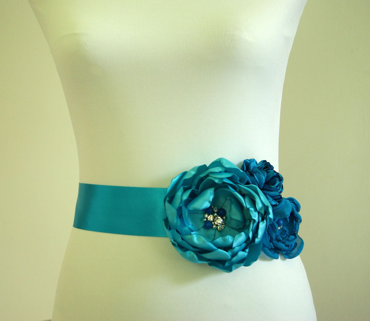 Turquoise Blue Flower Wedding Belt, embroidered with