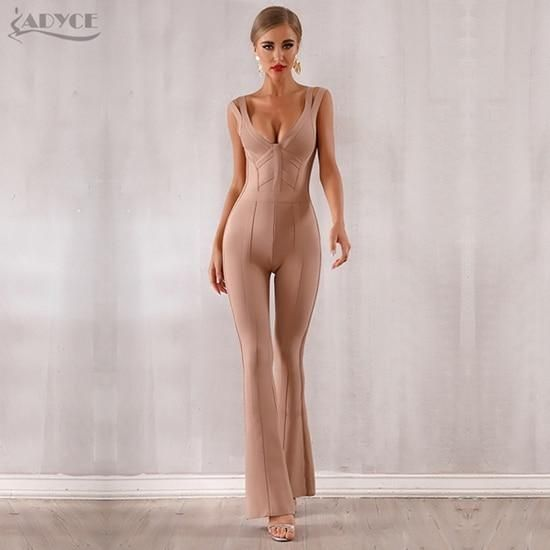 ADYCE 2019 New Summer Women Bandage Jumpsuit Romper Sexy V Neck Backless Sleeveless Long Jumpsuit Celebrity Evening Party Romper #jumpsuitromper