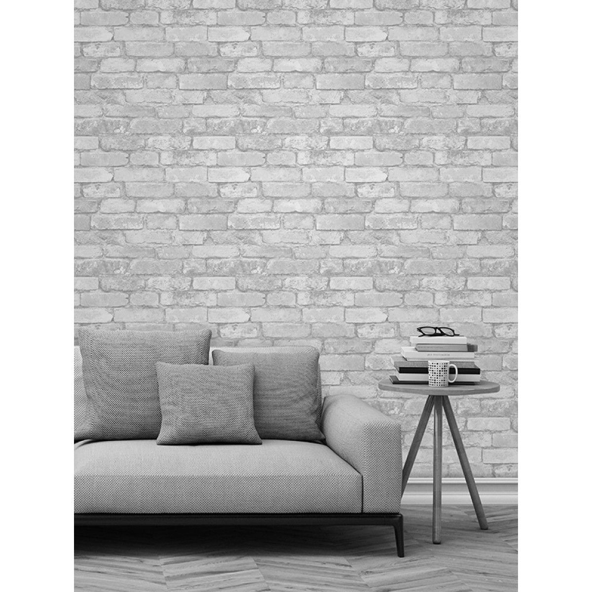 Realistic Rustic White Brick Design Wallpaper Metallic Silver Mica Highlights 10m 328 Ft Long