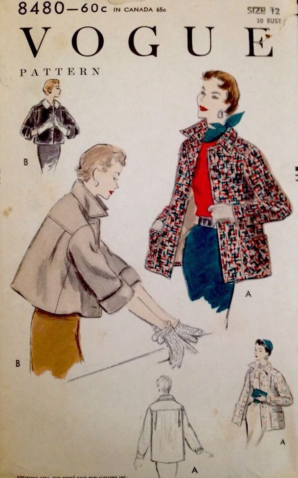 1950's Vintage Vogue Misses' Tweed Brocade Jacket Coat