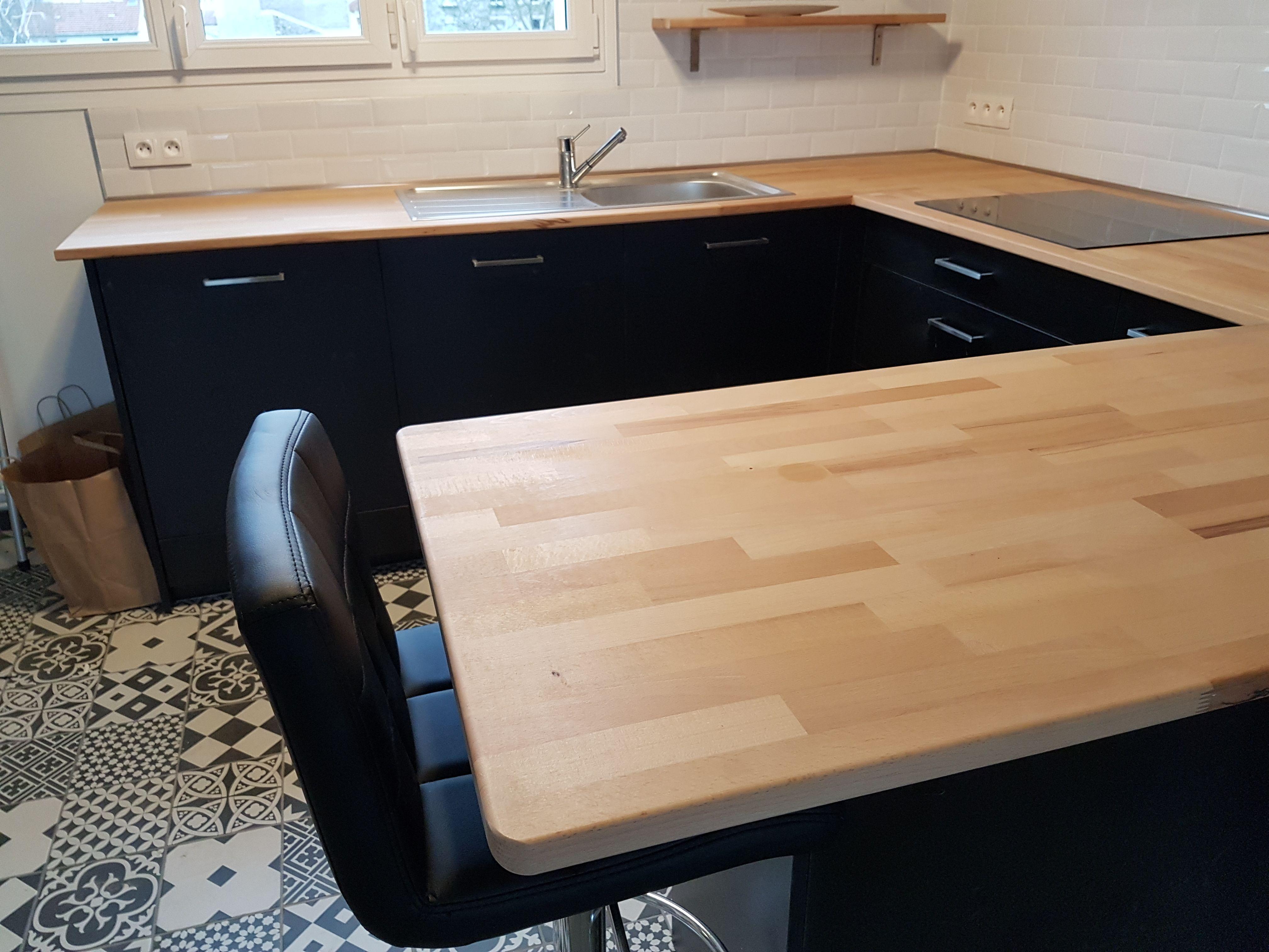 Cuisine Avec Plan De Travail Coulissant cuisine avec plans de travail en bois de hêtre sur mesure de