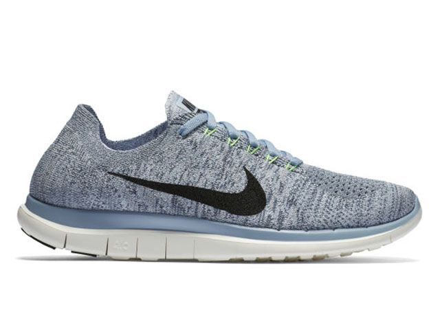 Nike Womens Free 4.0 Flyknit Blue Grey Black Sail Voltage Green