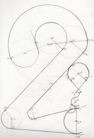 Mas Letras Y Numeros Disenados Geometricamente Con La Condicion De Usar Tangencias O Enlaces De Lineas Curvas Y Rectas Tangencias Tipografia Tecnicas De Dibujo