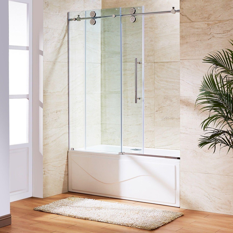 Vigo 60-inch Clear Glass Frameless Tub Sliding Door - 60\