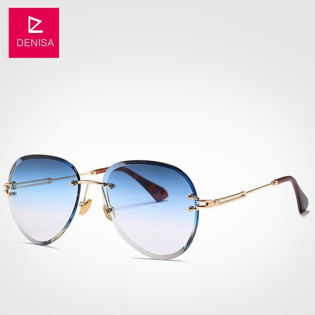 Fashion Blue Red Aviation Sunglasses Women Men Shades