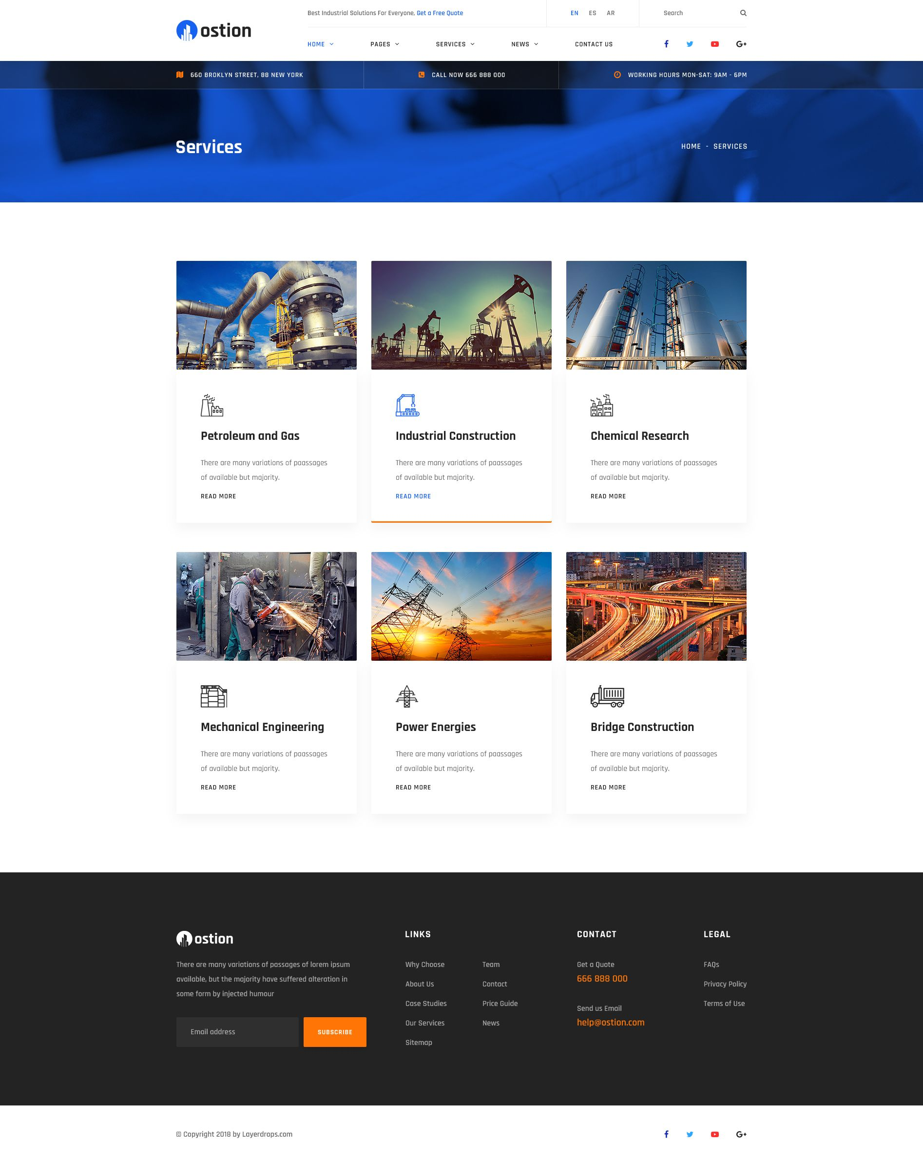 Ostion - Construction & Industry Building Company PSD Template #amp