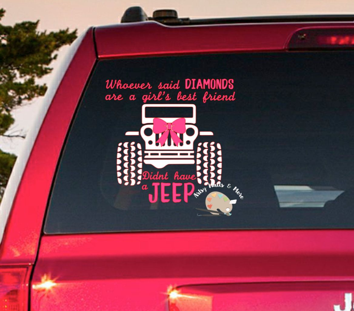 Jeep girl car window decal girly jeep window decal jeep decal with bow yeti cup vinyl decal sticker laptop mac decal water bottle decal by