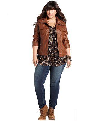 c7c27d49b American Rag Plus Size Jacket, Faux Leather Bomber (Macy's) # Casual Wear!