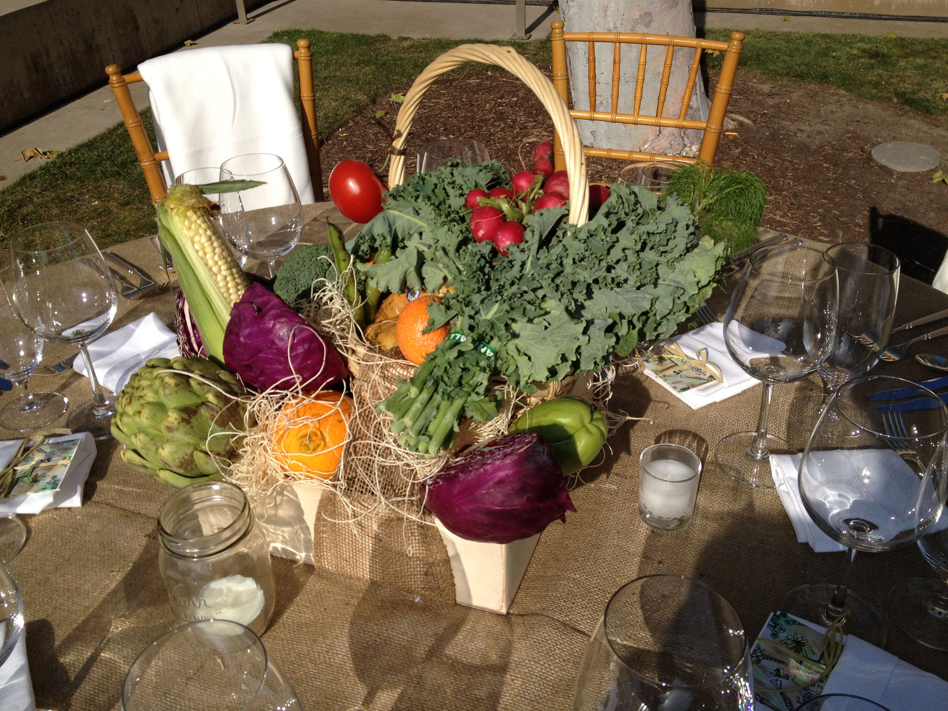 Fresh Fruit And Vegetable Centerpieces In A Wooden Box And