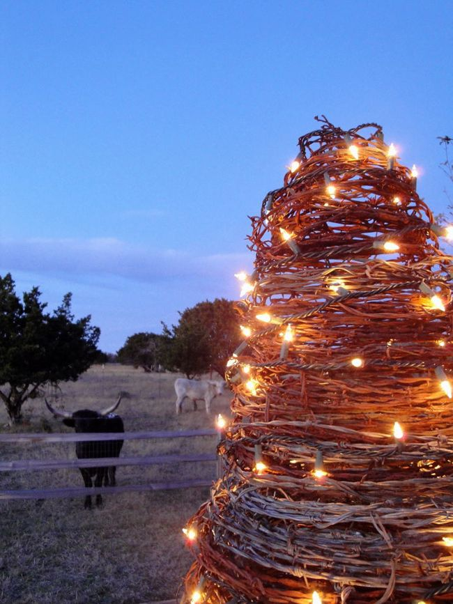 Barbed Wire Outdoor Christmas Tree That The Cows Won T Destroy Outdoor Christmas Tree Outdoor Christmas Christmas Tree