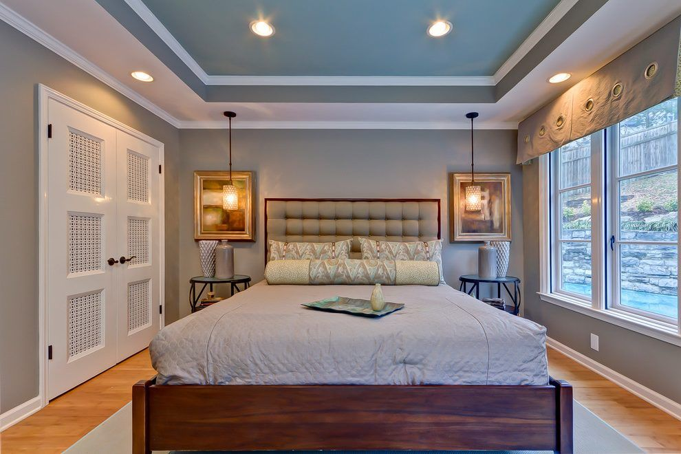 tray ceilings paint bedroom transitional with white window. Black Bedroom Furniture Sets. Home Design Ideas