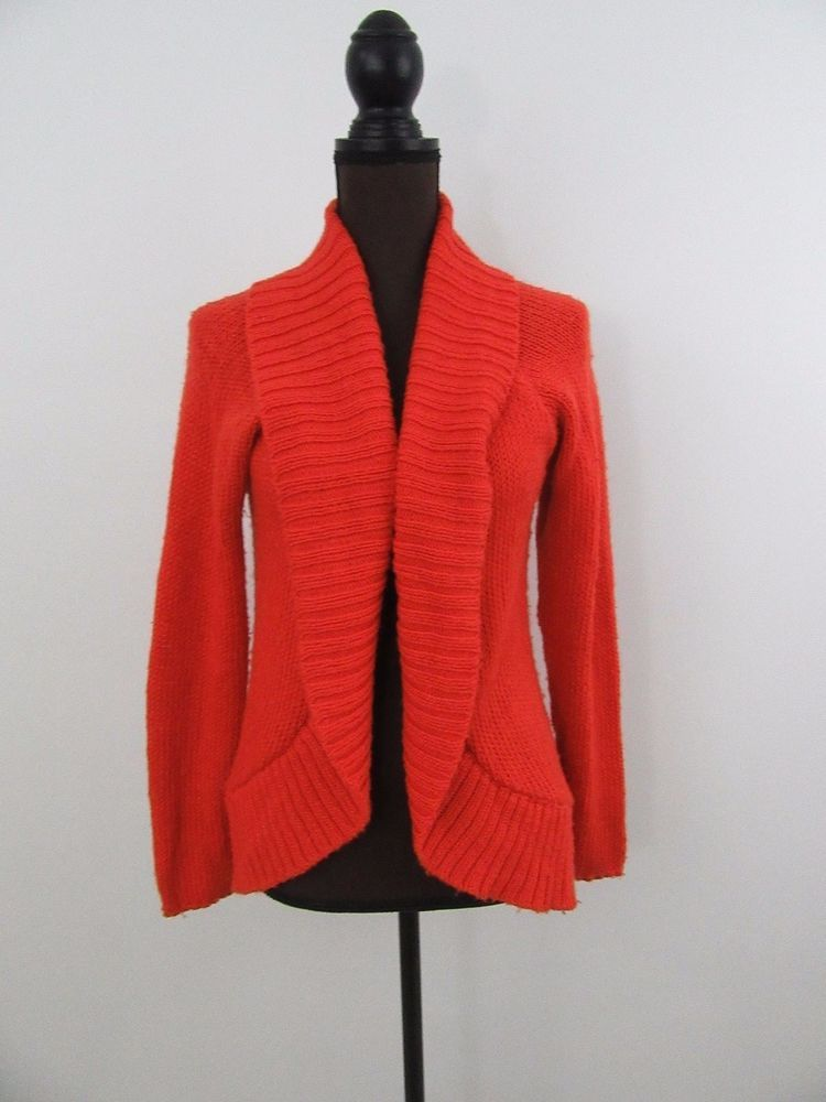 ANTHROPOLOGIE SILENCE   NOISE Orange Open Front Cardigan Sweater ...