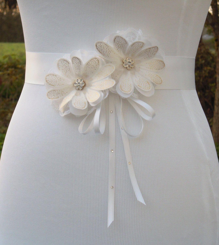 Gold belt for wedding dress  Daisy Wedding Dress Sash Belt White and Gold Floral Bridal Sash