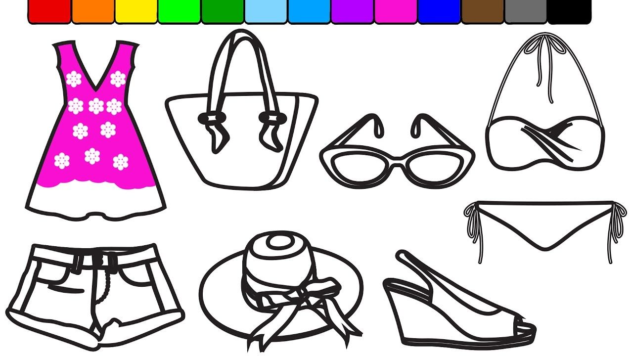 Learn Colors for Baby Girls with Summer Fashion Coloring Pages ...