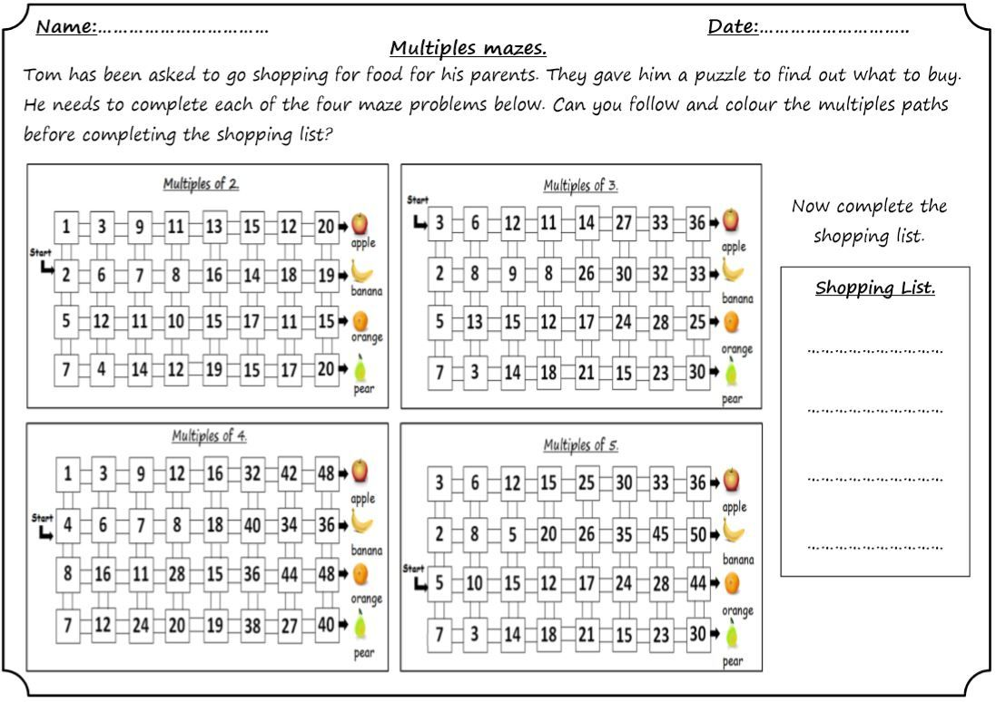 Multiples Of 2 3 4 And 5 Maze Puzzle Maze Puzzles Number Worksheets Go Shopping