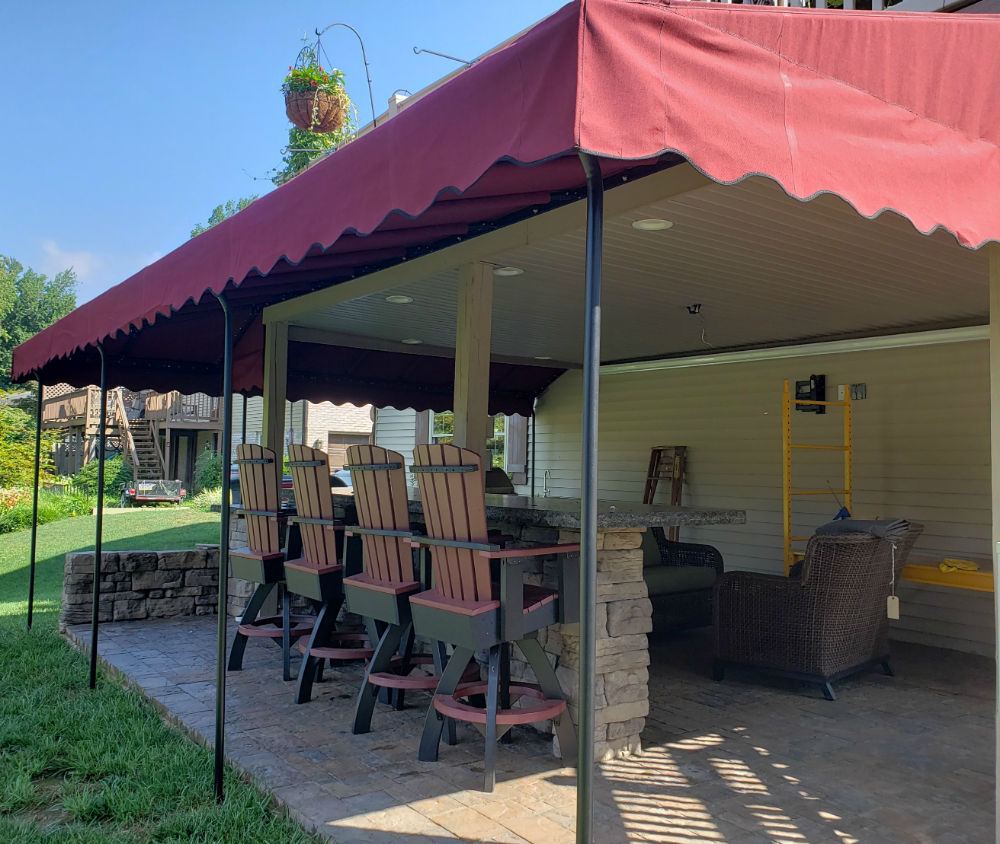 Outdoor Kitchen Bar Area Canopy Cover Kreider S Canvas Service Inc Outdoor Kitchen Bars Outdoor Kitchen Outdoor