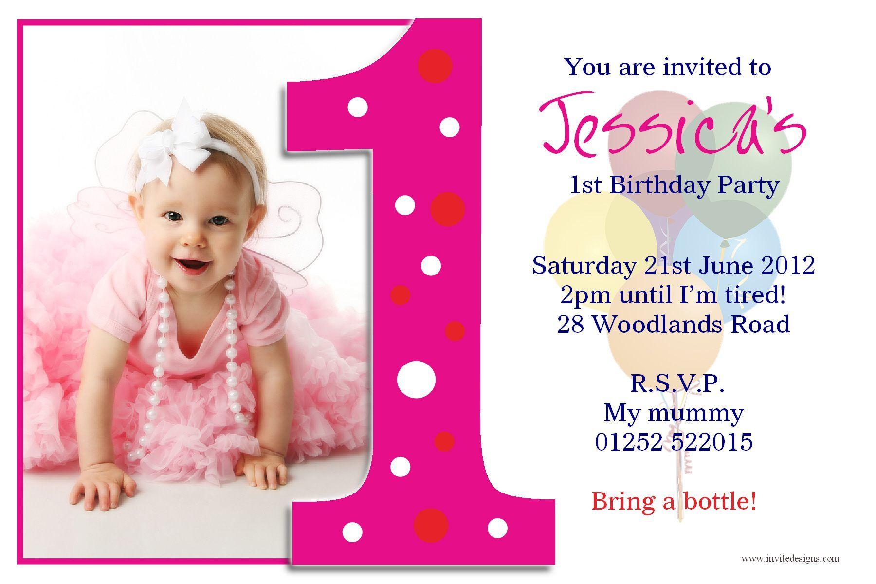 Free Printable 1st Birthday Invitations Cards Birthday