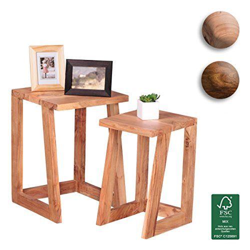 FineBuy 2er Set Beistelltisch Massiv Holz Akazie Design Satztisch Wohnzimmer Tisch Rund Couchtisch Natur