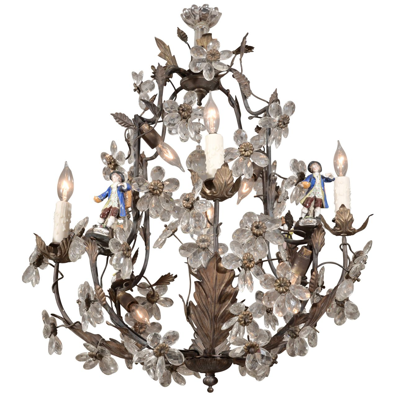 French tole and crystal chandelier from a unique collection of
