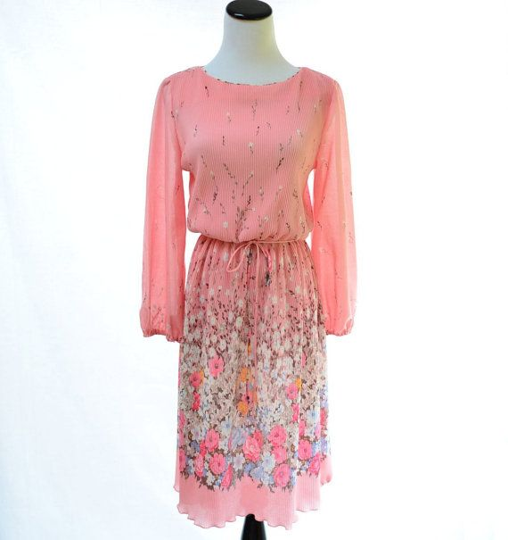 Beautiful Floral Pink Pleated Dress// 70s Vintage by CoolMintMoon, $37.00