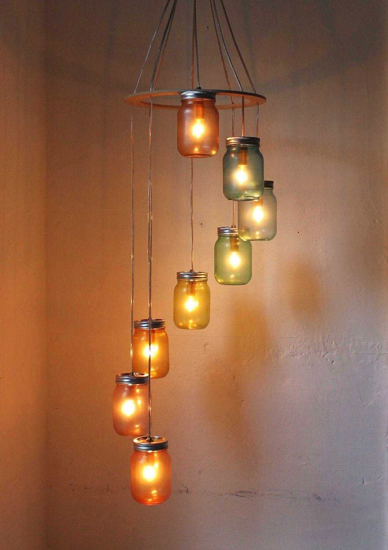 Rainbow Bright Mason Jar Chandelier Mason Jar Lighting Spiral