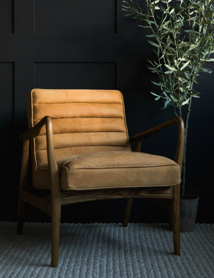 Mid Century Leather Armchair Tan Rose Grey